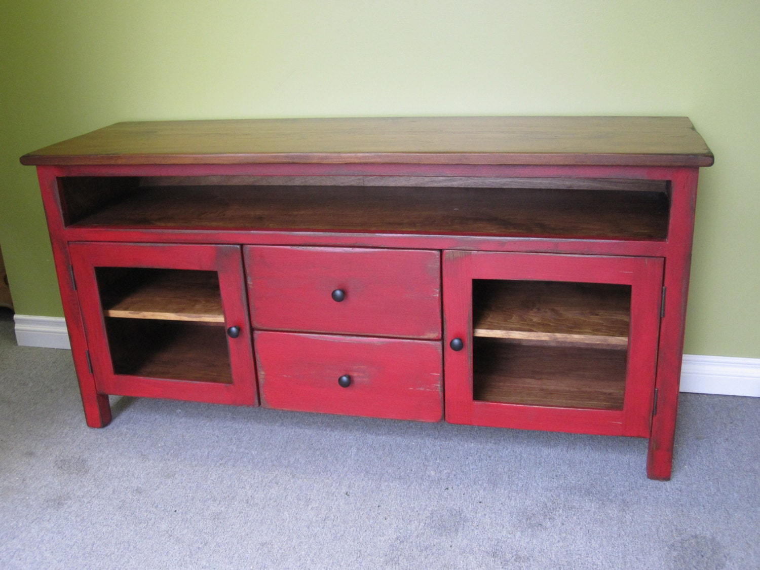 Red Tv Stand Wooden 60 Long Tv Console By
