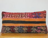 "12x24""Kilim Lumbar Pillow Kilim pillow Lumbar Kilim Pillow Lumbar Throw Pillow Turkish Cushion Outdoor Floor sham Bohemian accent decorative"