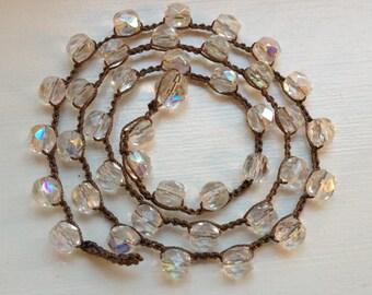 Boho Style Czech Crystal Crochet Necklace