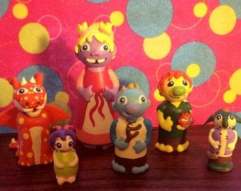 Troll wood peg people cake topper figurines