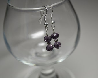 Purple Swarovski Crystal Sterling Silver Dangle Earrings