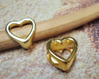 2 Regaliz Brand Gold Open Heart Sliders, High Quality finding, licorice leather, round leather cord, metal bead, jewelry supplies, supplier
