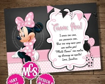 HUGE SELECTION Minnie Mouse Thank You Card, Chalkboard, Minnie Mouse, Thank You Insert, Minnie Mouse, My Celebration Shoppe, Insert Card
