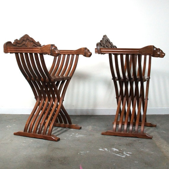 Carved lion chairs x frame folding savonarola slat chairs with