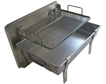 Small Wilderness FIRE PAN - A Complete Light Weight Fire Pit and grill for Rafting and and Camping   (ships after July 9)