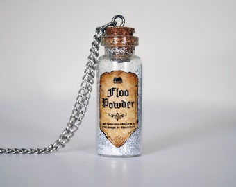 Harry Potter Inspired Potion Bottle Necklace: Floo Powder, HP jewelry, Pottermore necklace, Ronald weasley, potion necklace, glass bottle