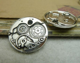 20pcs 25mm Antique Bronze/ Antique Silver Clock Gear Charms Pendants Jewelry Findings AC7254
