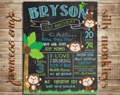 First Birthday Chalkboard Poster Sign Printable - Monkey - Digital File JPG - Baby's First Birthday