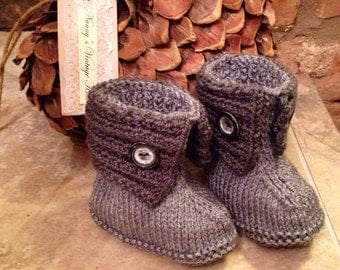 Grey hand knitted boots with grey button 0-6 or 6-12 months