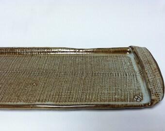 handmade serving tray, sushi platter, rectangular tray, serving platter, ceramic tray
