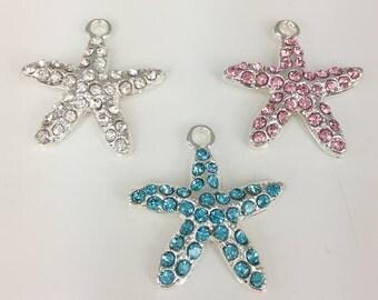 5pcs Silver Plated  Starfish Rhinestone  Metal charms Starfish Bracelet Starfish Jewelry