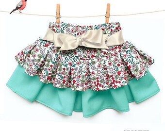 Girls Twirl skirt pattern - ONE skirt THREE styles - sizes 1 to 8 years