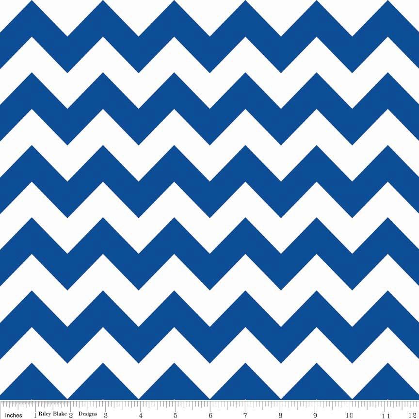Royal Blue Medium Chevron Fabric - by Riley Blake Designs. 100 ...