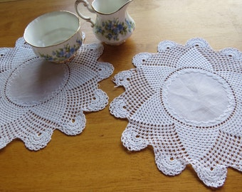 Vintage Doily Beautiful Pair Hand Crocheted Doilies Round White Beach House Country Cottage