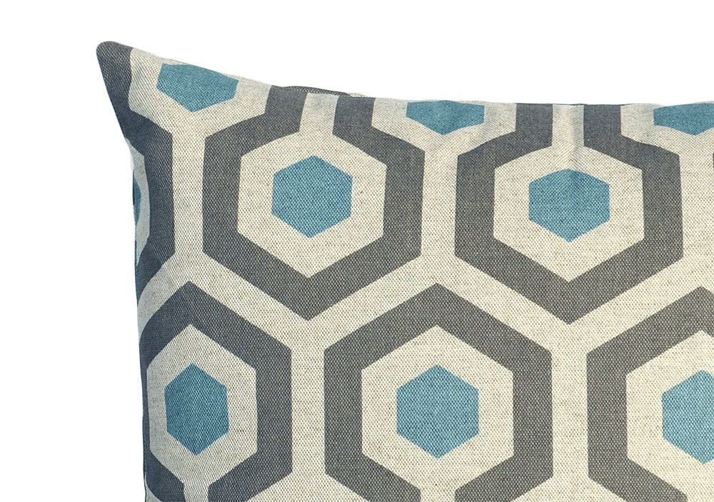 Blue and Neutral Linen Collection Decorative Throw Zipper