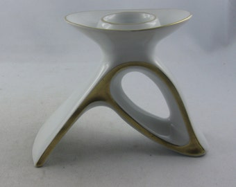 Eschenbach Bavaria Germany. Unusual, small candlestick / candle holder made of white porcelain with gold rim. VINTAGE