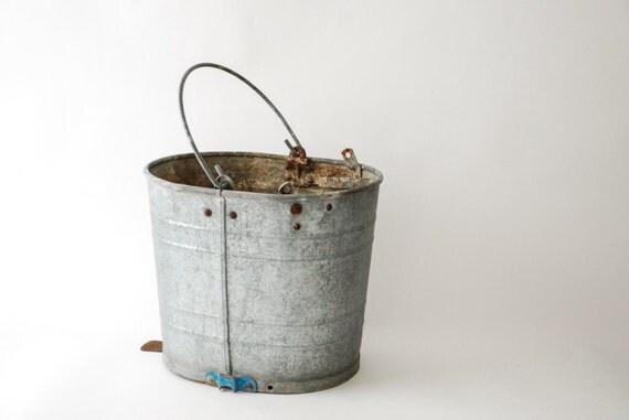 Galvanized bucket antique pail antique bucket metal bucket for Old metal buckets