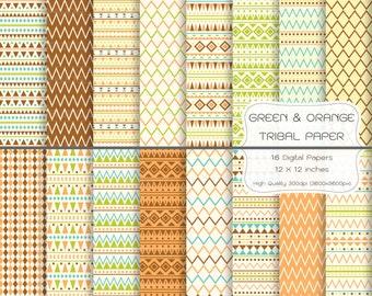 Tribal Digital Paper-Green & Orange Tribal Digital Paper-Tribal Background-Geometric Pattern-Triangle Pattern-Scrapbooking-Tribal Wallpaper