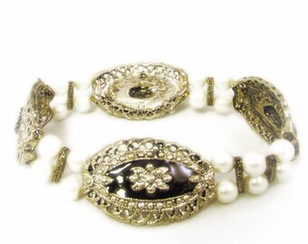 Lovely Black Enamel and Silver Tone Bracelet with Faux Pearls