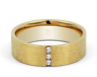 18ct Yellow Gold Men's Diamond Set Wedding Band 0.06ct
