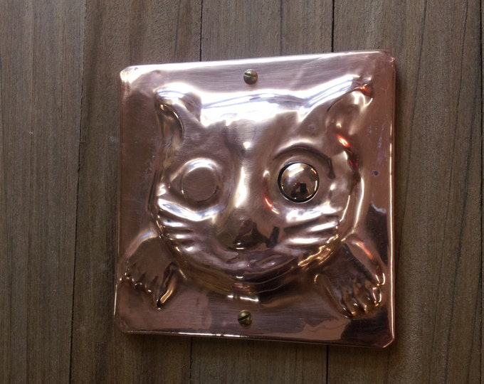 Cat Door Bell Push Button in Copper, inspired by medieval door furniture, handmade, shipped worldwide
