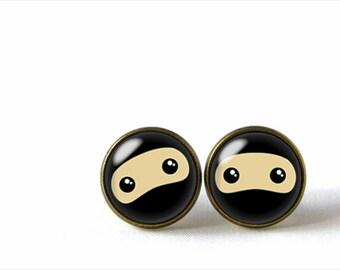 Glass Dome Stud Earrings, Ninja, A-222