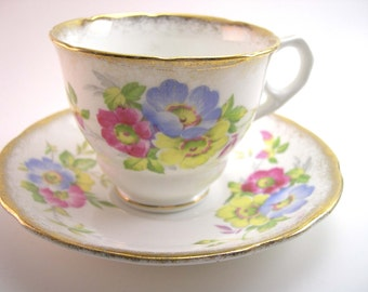 Antique Royal Stafford  White and Gold Tea Cup & Saucer, Spray of Flowers, English tea cup and saucer set