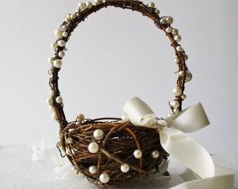 Flower girl basket small wedding basket Rustic wedding decor Flower basket twig basket  Woodland wedding HERMIA