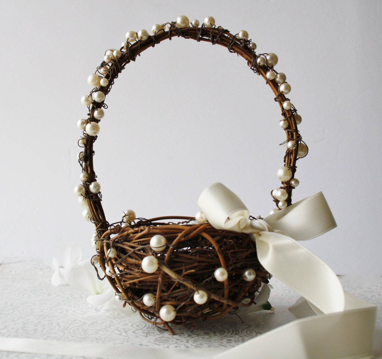 Flower Girl Baskets For Weddings: Flower Girl Basket Small Wedding Basket Rustic Wedding Decor