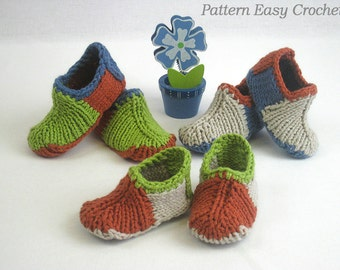 Knitting pattern baby slippers colored