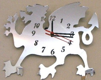 Welsh Dragon Clock Mirror - 3 Sizes Available