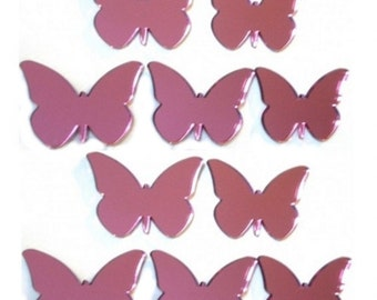 Pink Butterfly Mirrors - Packs of 10 Crafting and Decoration size plus a single larger Pink Butterfly