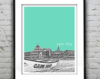 Cape May New Jersey Poster Print Art NJ Shore Skyline Version 1