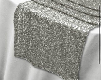 Sequin Silver Table Runner - Stunning Elegant