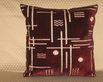 "Burgundy - dark red - beige - velvet - handmade - throw pillow - cushion - cover - 40 cm x 40 cm (16"" x 16"")."