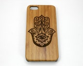 Hamsa Hand iPhone 6S or iPhone 6 Case. Hand of Fatima Symbol Evil Eye Protection Yoga. Eco-Friendly Bamboo Wood Phone Cover iMakeTheCase