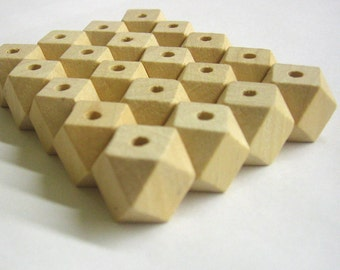 Faceted wood beads, 16x16 mm, 20 pc., unfinished large natural beads