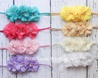 PICK ONE,  skinny band Baby headband, newborn, toddler, girls hair bows,Shabby chic flower, Chiffon flower, flower headband