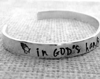 In God's hands- hand stamped bracelet- cuff bracelet- Christian jewelry