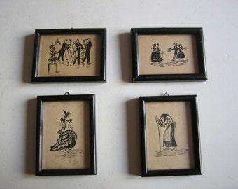 four vintage original miniature original paintings