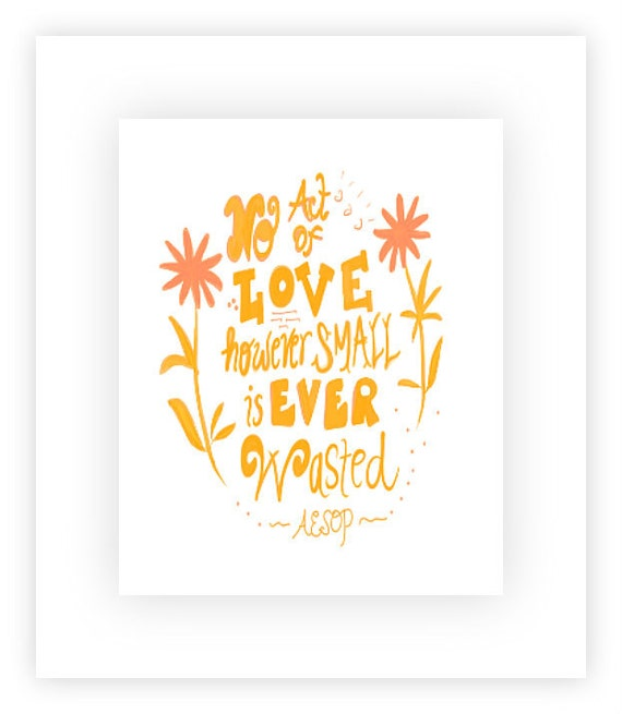 Inspirational Print, Aesop's Fables Quote, Positive Affirmation, 8x10 Pink and Orange Art - girls bedroom or bathroom decor
