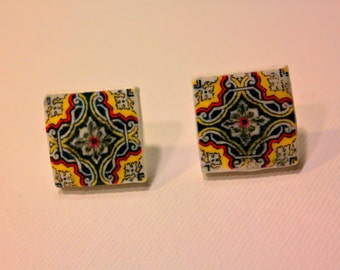 Small earrings with portuguese tile replica