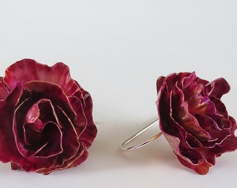 Dainty Peony Earrings- Floral Accessory -Unique gifts - Bridesmaids jewelry - Floral jewelry - Organic jewelry