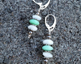 Digging Deep- Chrysoprase & Moonstone Sterling Earrings