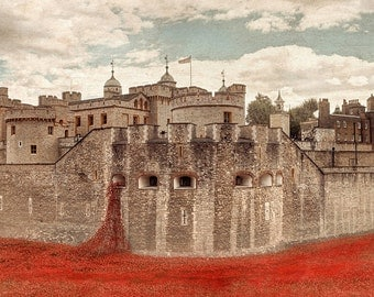 Tower of London with poppies memorial print, First World War remembrance day,  Armistice, red poppy blue, home decor
