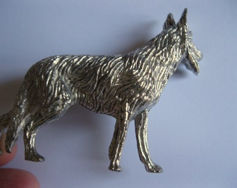 Beautifully detailed solid white metal dog figurine