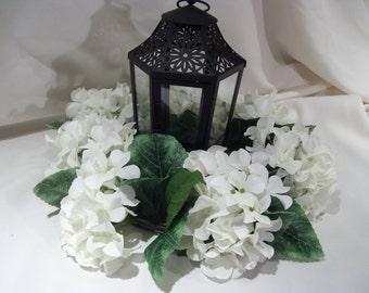 "8""  Lantern Wreath White  Hydrangea Wreath for table centerpiece"