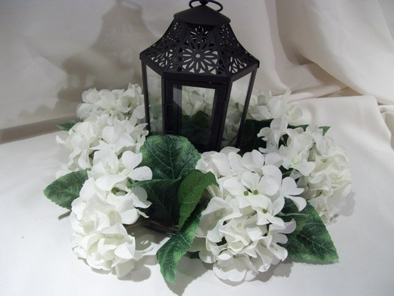 Lantern wreath white hydrangea for table