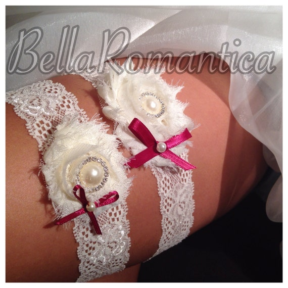 Burgundy Wedding Garter - Ivory Wedding Garter Set - Ivory and Burgundy Garter - Ivory Shabby Garter Set