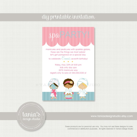 Salon Printable Spa Salon Printable Birthday